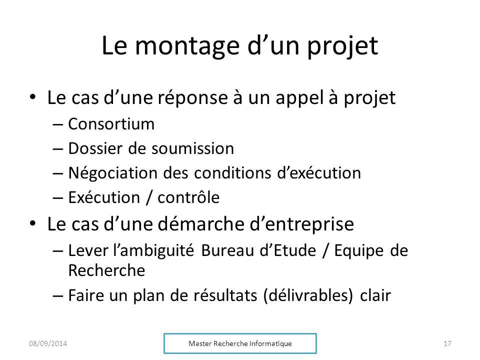 Le montage d'un projet Le cas d'une réponse à un appel à projet – Consortium – Dossier de soumission – Négociation des conditions d'exécution – Exécut