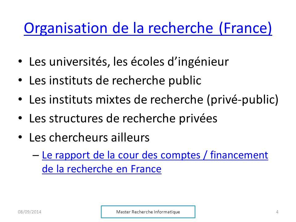 Organisation de la recherche (France) Les universités, les écoles d'ingénieur Les instituts de recherche public Les instituts mixtes de recherche (pri