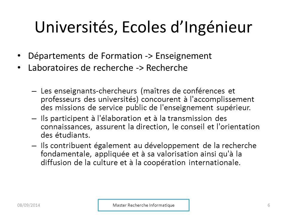 Instituts de recherche, mixtes CNRS : http://www.cnrs.fr/http://www.cnrs.fr/ INRIA : http://www.inria.fr/http://www.inria.fr/ La plupart des laboratoires CNRS sont mixtes (Enseignement-Supérieur/CNRS) Des équipes INRIA peuvent être mixtes Master Recherche Informatique 708/09/2014
