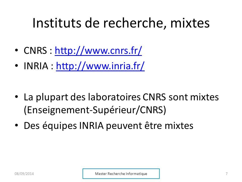 Instituts de recherche, mixtes CNRS : http://www.cnrs.fr/http://www.cnrs.fr/ INRIA : http://www.inria.fr/http://www.inria.fr/ La plupart des laboratoi