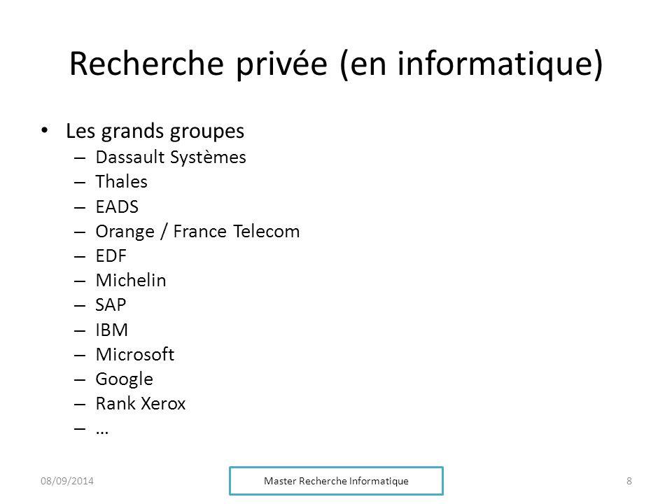 Recherche privée (en informatique) Les grands groupes – Dassault Systèmes – Thales – EADS – Orange / France Telecom – EDF – Michelin – SAP – IBM – Microsoft – Google – Rank Xerox – … Master Recherche Informatique 808/09/2014