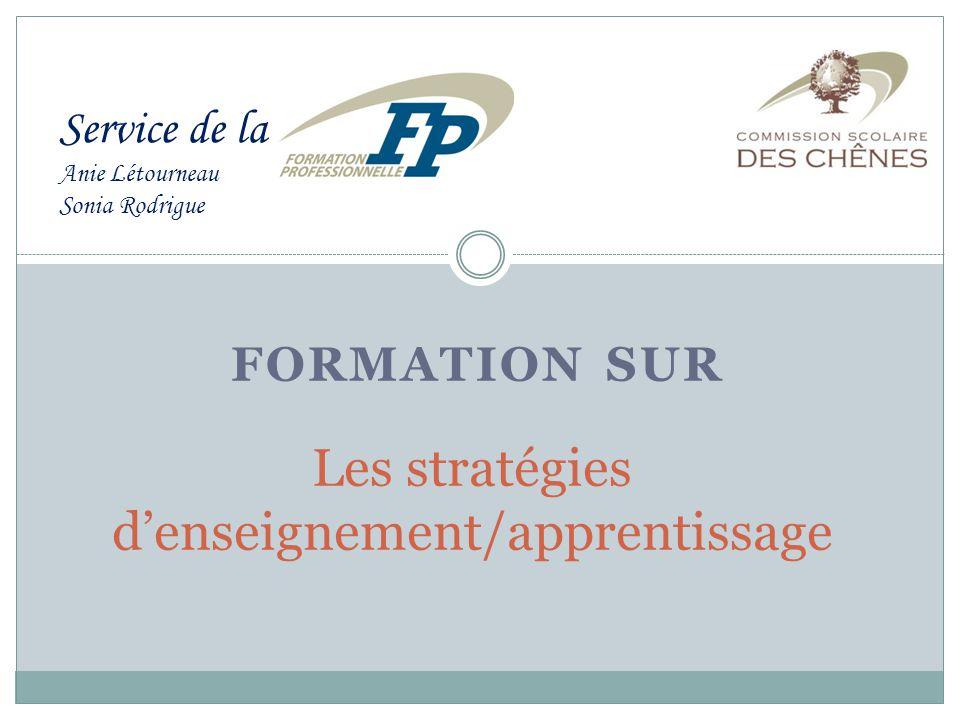 FORMATION SUR Les stratégies d'enseignement/apprentissage Service de la Anie Létourneau Sonia Rodrigue