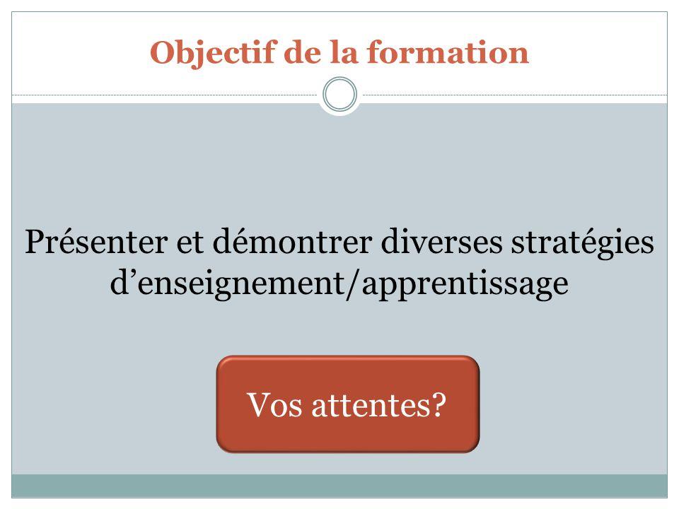 Objectif de la formation Présenter et démontrer diverses stratégies d'enseignement/apprentissage Vos attentes?