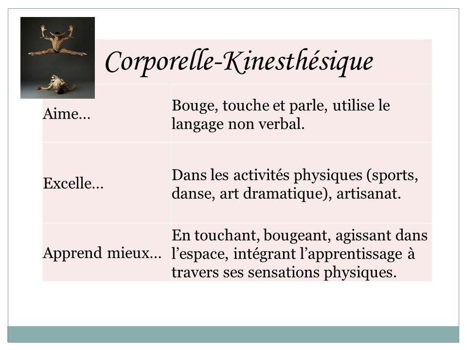 Corporelle-Kinesthésique Aime… Bouge, touche et parle, utilise le langage non verbal. Excelle… Dans les activités physiques (sports, danse, art dramat
