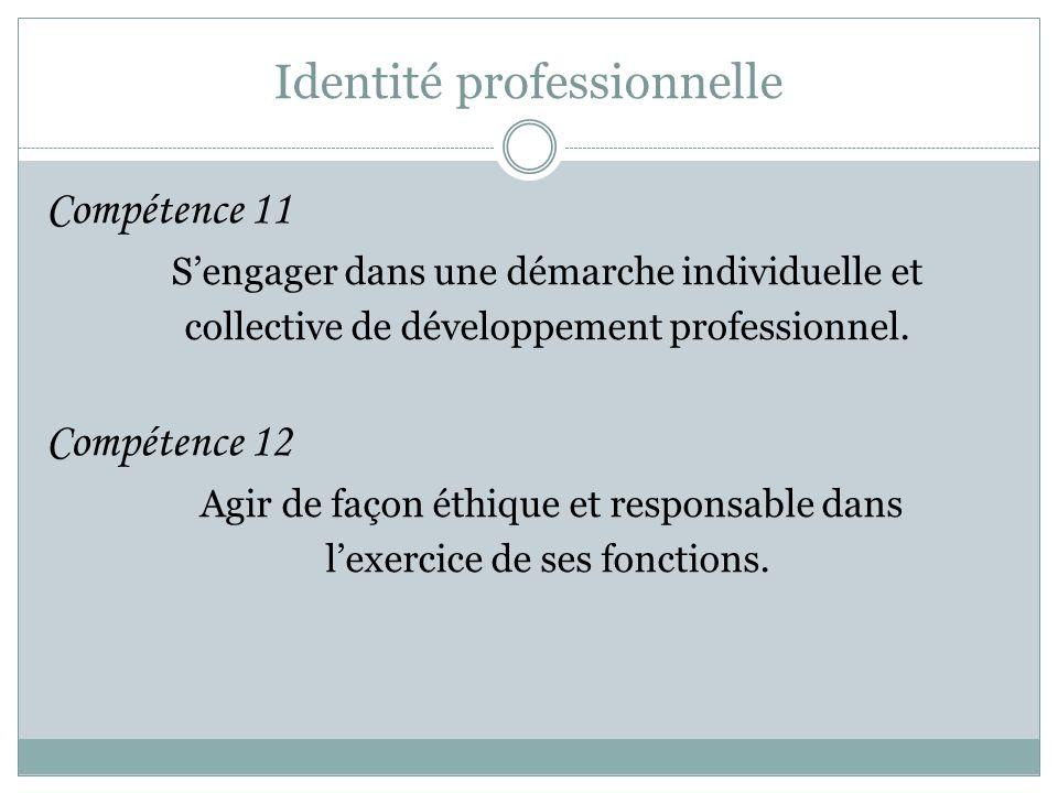 Identité professionnelle Compétence 11 S'engager dans une démarche individuelle et collective de développement professionnel. Compétence 12 Agir de fa