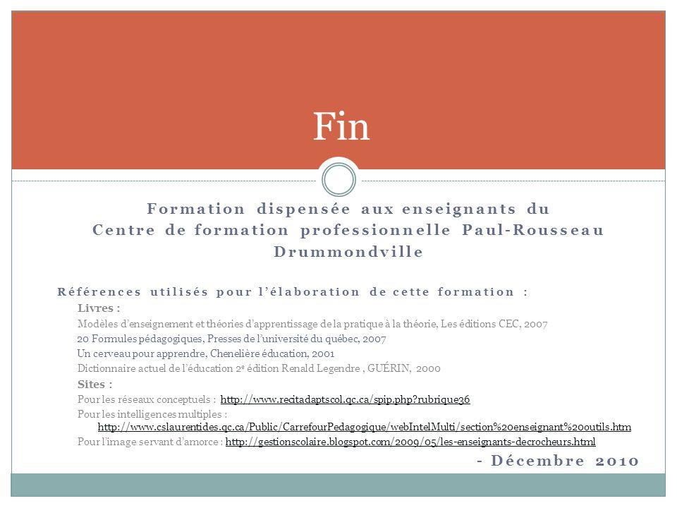 Fin Formation dispensée aux enseignants du Centre de formation professionnelle Paul-Rousseau Drummondville Références utilisés pour l'élaboration de c