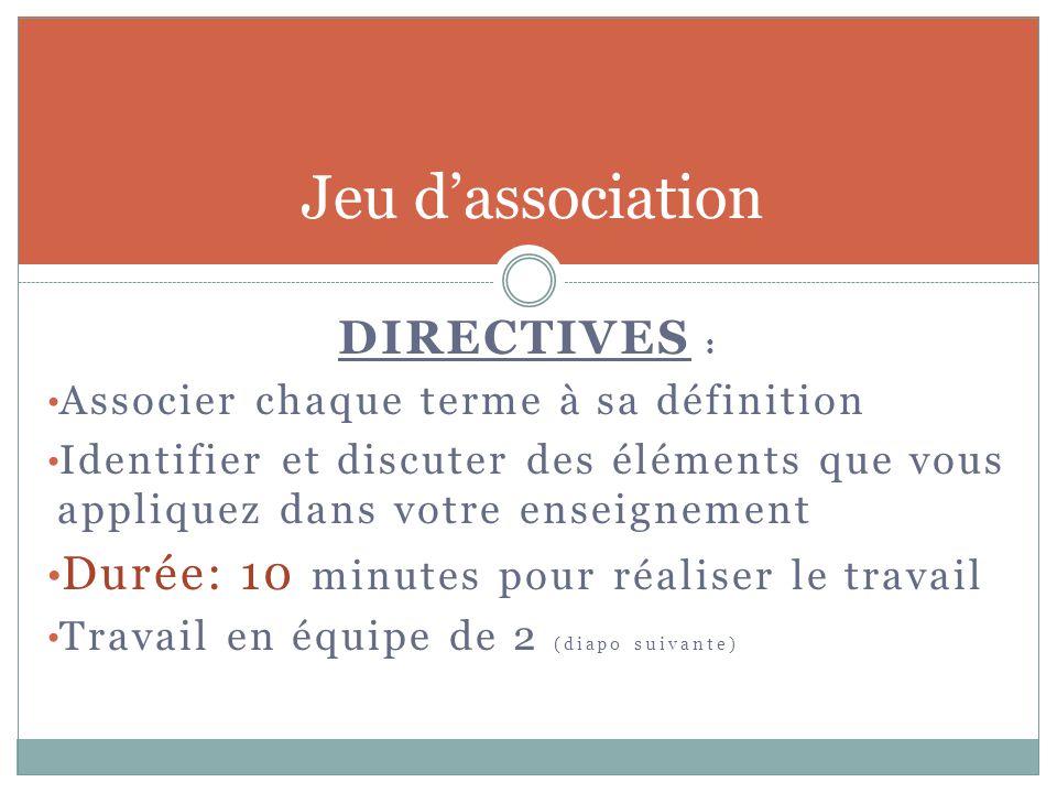 Jeu d'association DIRECTIVES : Associer chaque terme à sa définition Identifier et discuter des éléments que vous appliquez dans votre enseignement Du