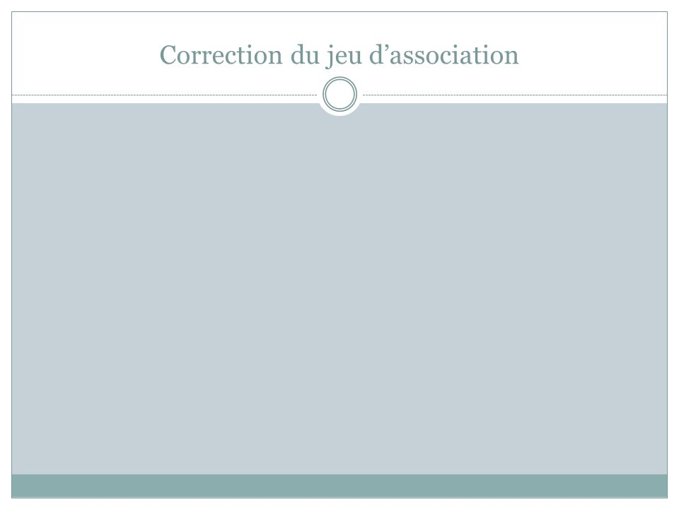 Correction du jeu d'association
