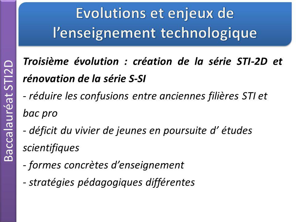 Baccalauréat STI2D Troisième évolution : création de la série STI-2D et rénovation de la série S-SI - réduire les confusions entre anciennes filières STI et bac pro - déficit du vivier de jeunes en poursuite d' études scientifiques - formes concrètes d'enseignement - stratégies pédagogiques différentes