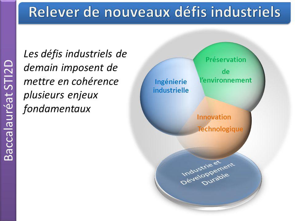 Baccalauréat STI2D Les défis industriels de demain imposent de mettre en cohérence plusieurs enjeux fondamentaux