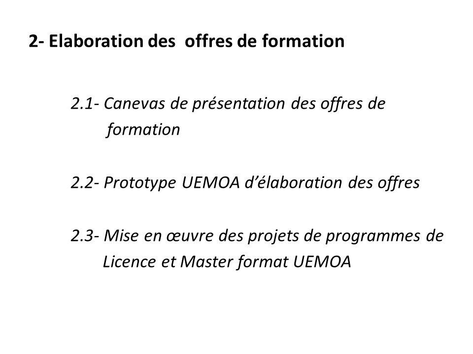 2.1- Canevas de présentation des offres de formation 2.2- Prototype UEMOA d'élaboration des offres 2.3- Mise en œuvre des projets de programmes de Licence et Master format UEMOA 2- Elaboration des offres de formation