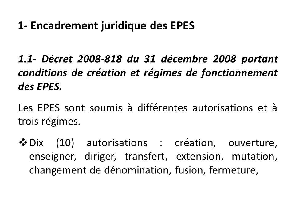 1- Encadrement juridique des EPES 1.1- Décret 2008-818 du 31 décembre 2008 portant conditions de création et régimes de fonctionnement des EPES. Les E