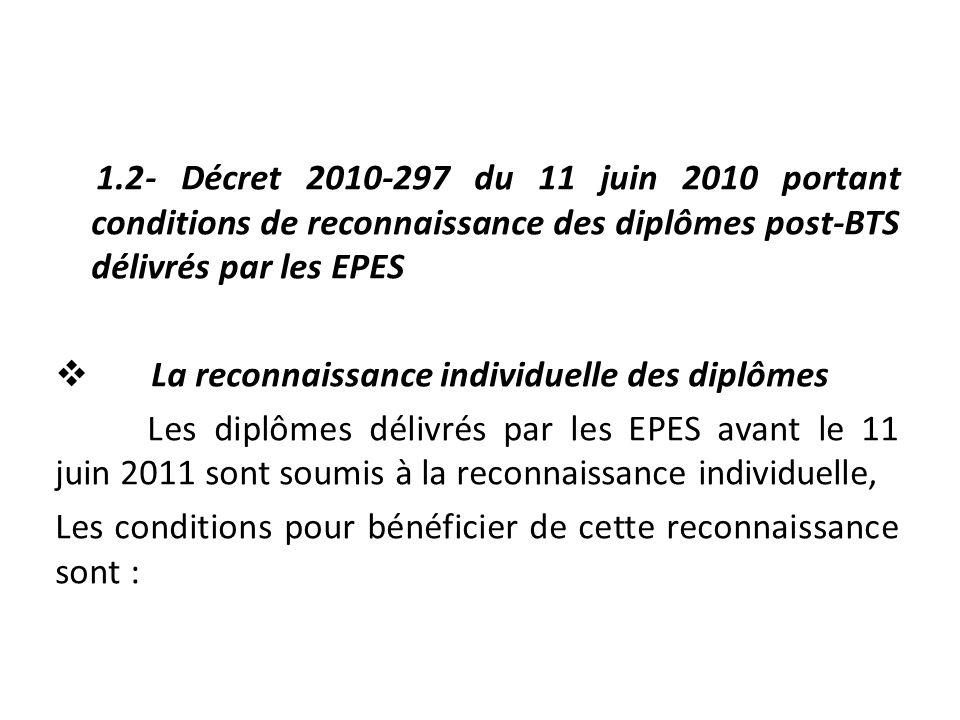 1.2- Décret 2010-297 du 11 juin 2010 portant conditions de reconnaissance des diplômes post-BTS délivrés par les EPES  La reconnaissance individuelle