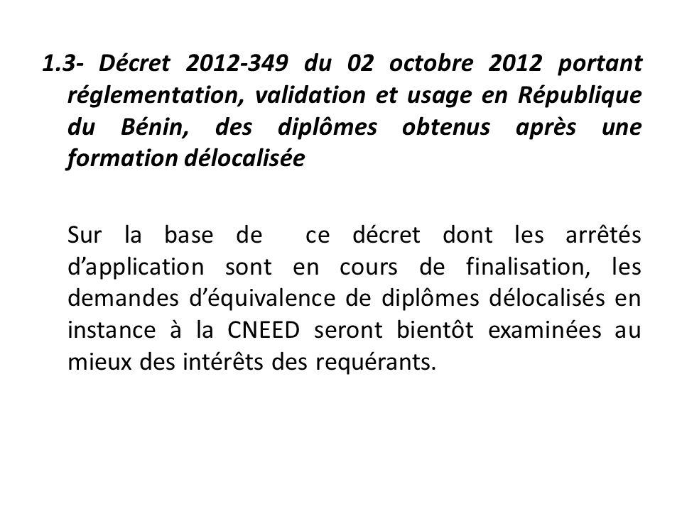 1.3- Décret 2012-349 du 02 octobre 2012 portant réglementation, validation et usage en République du Bénin, des diplômes obtenus après une formation d