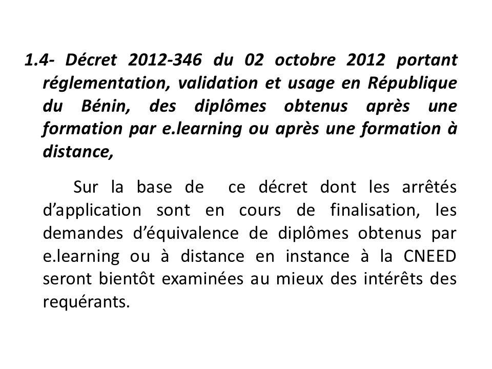 1.4- Décret 2012-346 du 02 octobre 2012 portant réglementation, validation et usage en République du Bénin, des diplômes obtenus après une formation p