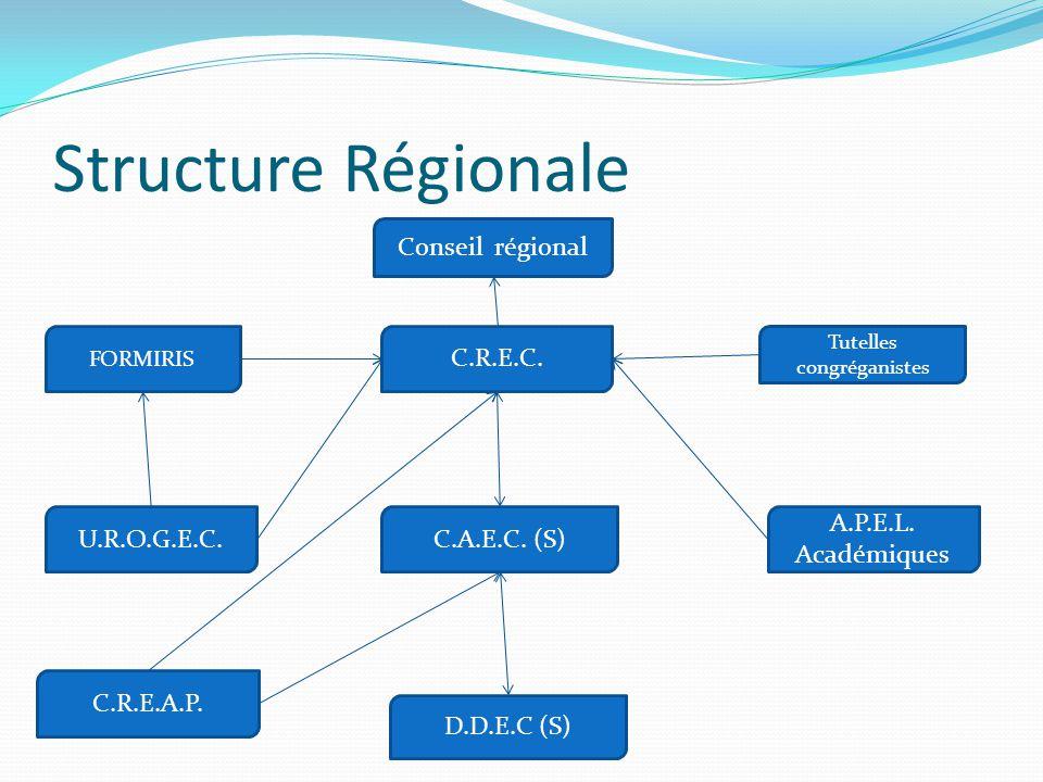 Structure Régionale D.D.E.C (S) C.R.E.C. C.A.E.C. (S) A.P.E.L. Académiques U.R.O.G.E.C. Tutelles congréganistes FORMIRIS C.R.E.A.P. Conseil régional