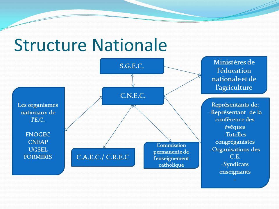 Structure Nationale C.N.E.C. C.A.E.C./ C.R.E.C Commission permanente de l'enseignement catholique Les organismes nationaux de l'E.C. FNOGEC CNEAP UGSE