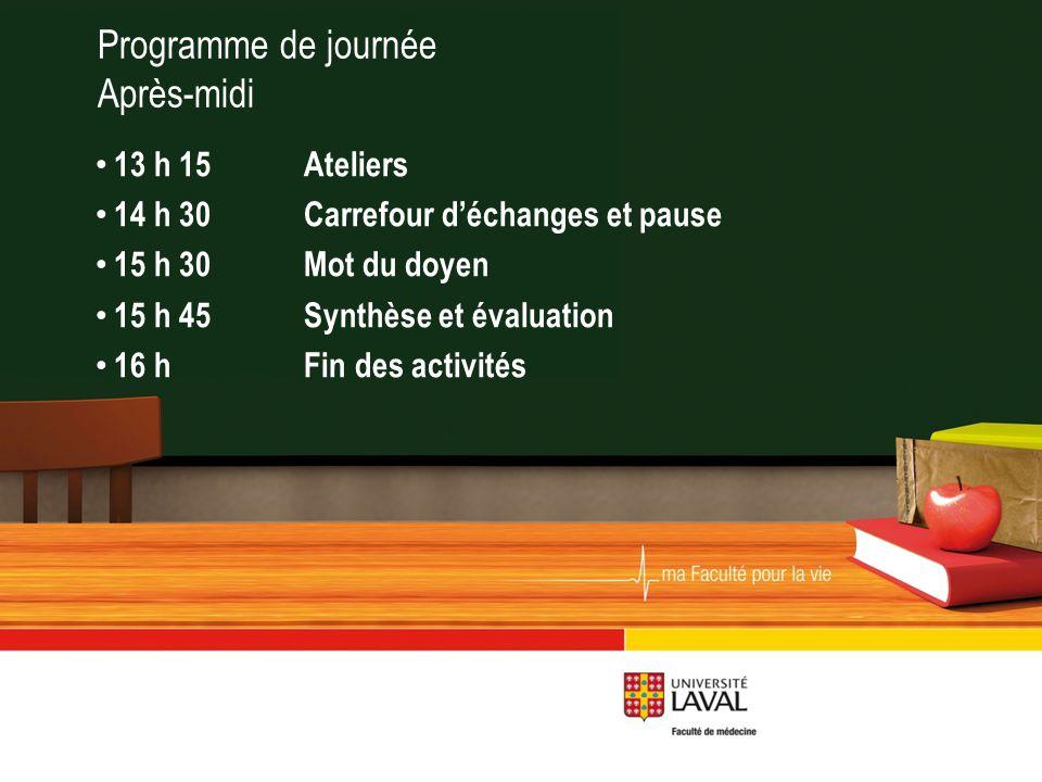Programme de journée Après-midi 13 h 15Ateliers 14 h 30Carrefour d'échanges et pause 15 h 30Mot du doyen 15 h 45Synthèse et évaluation 16 h Fin des activités