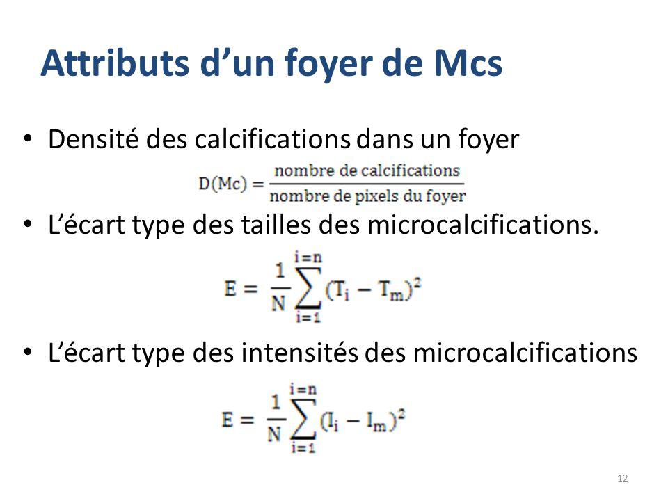Attributs d'un foyer de Mcs Densité des calcifications dans un foyer L'écart type des tailles des microcalcifications. L'écart type des intensités des