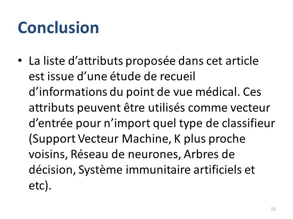 Conclusion La liste d'attributs proposée dans cet article est issue d'une étude de recueil d'informations du point de vue médical. Ces attributs peuve