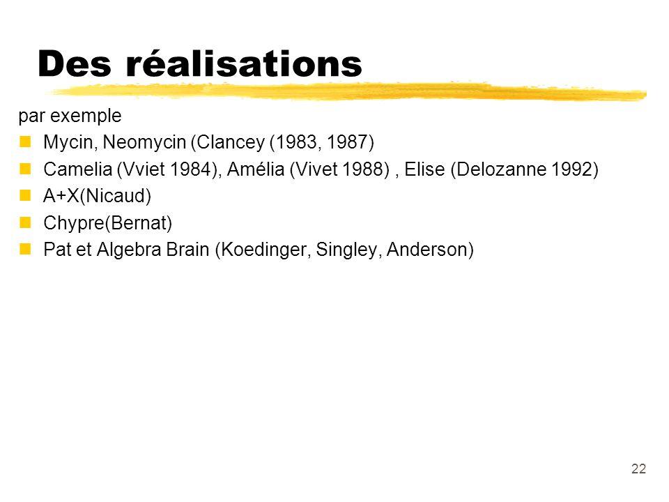 22 Des réalisations par exemple nMycin, Neomycin (Clancey (1983, 1987) nCamelia (Vviet 1984), Amélia (Vivet 1988), Elise (Delozanne 1992) nA+X(Nicaud) nChypre(Bernat) nPat et Algebra Brain (Koedinger, Singley, Anderson)