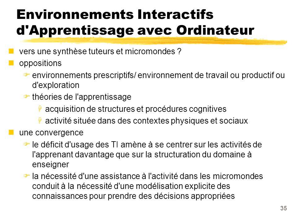 35 Environnements Interactifs d Apprentissage avec Ordinateur nvers une synthèse tuteurs et micromondes .