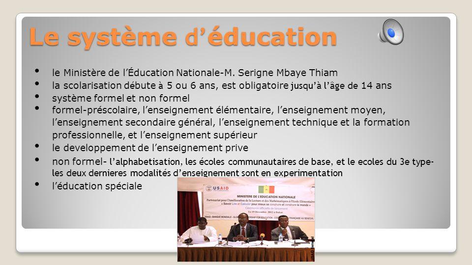 Le système d' éducation le Ministère de l'Éducation Nationale-M.
