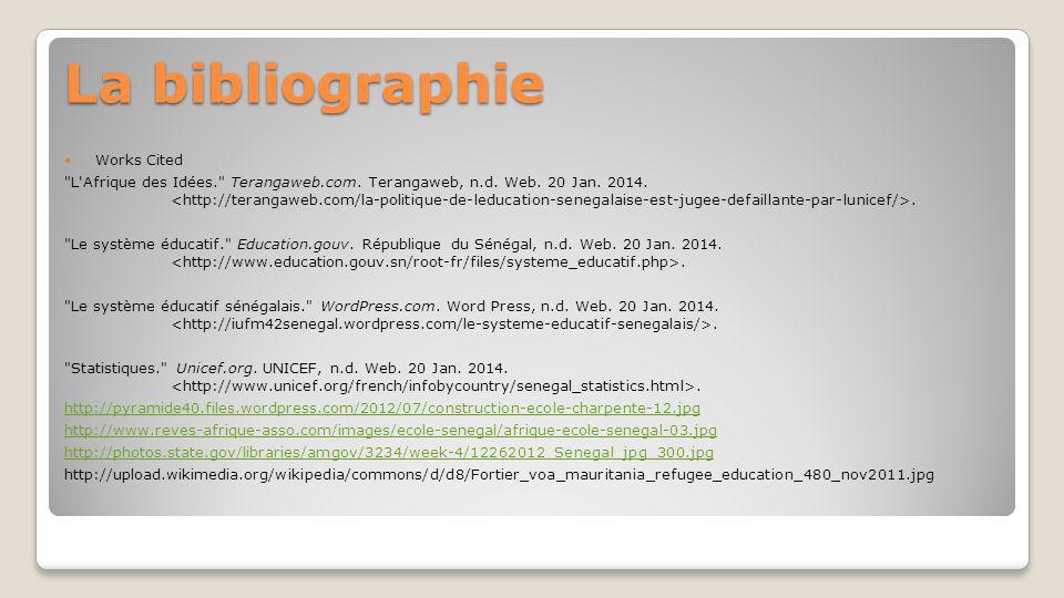 La bibliographie Works Cited L Afrique des Idées. Terangaweb.com.