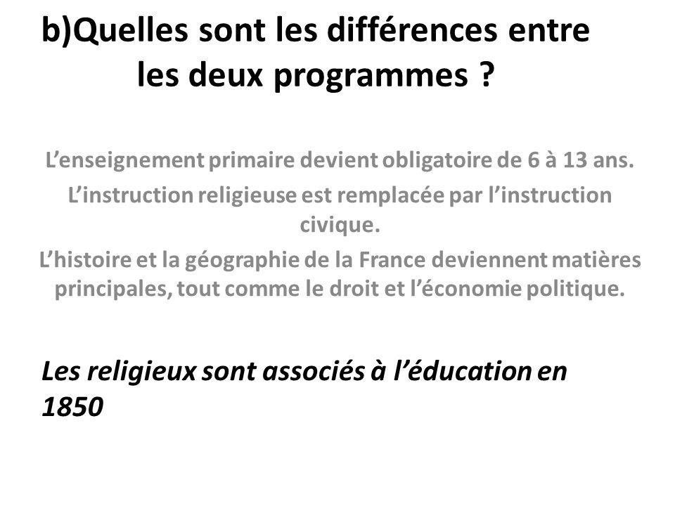 b)Quelles sont les différences entre les deux programmes ? L'enseignement primaire devient obligatoire de 6 à 13 ans. L'instruction religieuse est rem