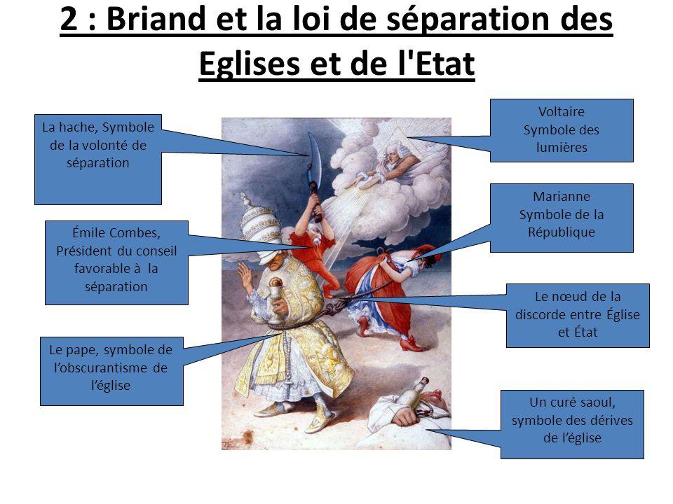 2 : Briand et la loi de séparation des Eglises et de l'Etat La hache, Symbole de la volonté de séparation Émile Combes, Président du conseil favorable