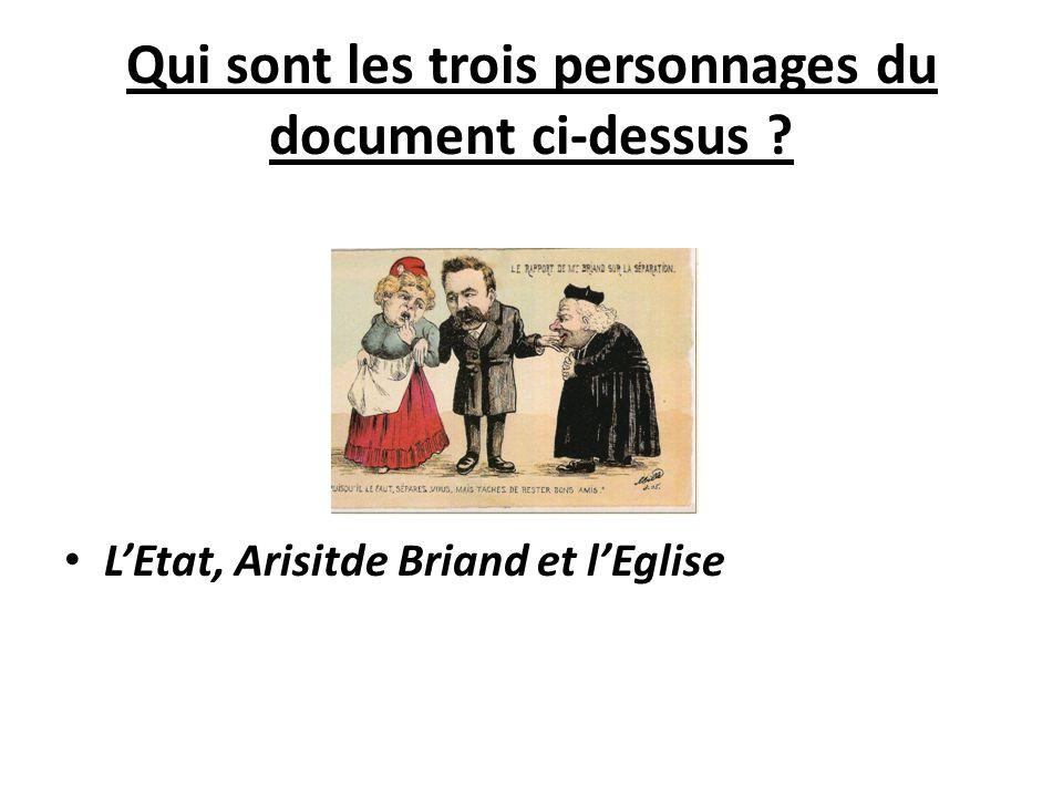 Qui sont les trois personnages du document ci-dessus ? L'Etat, Arisitde Briand et l'Eglise