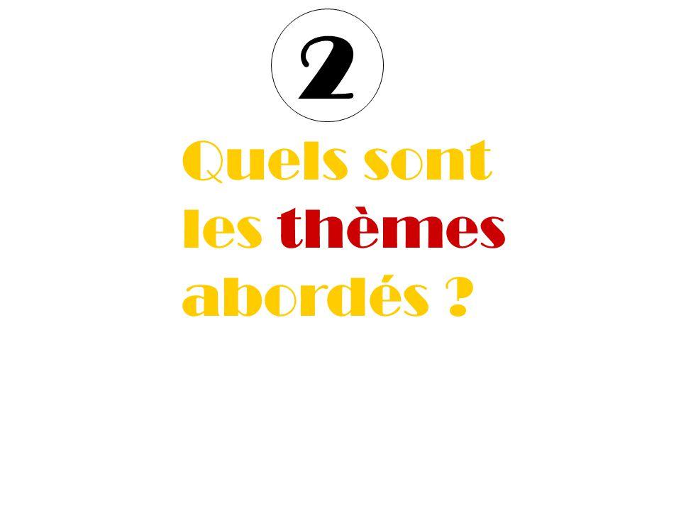 5 thèmes 1.Formation & Emploi 2. Entreprise & production 3.