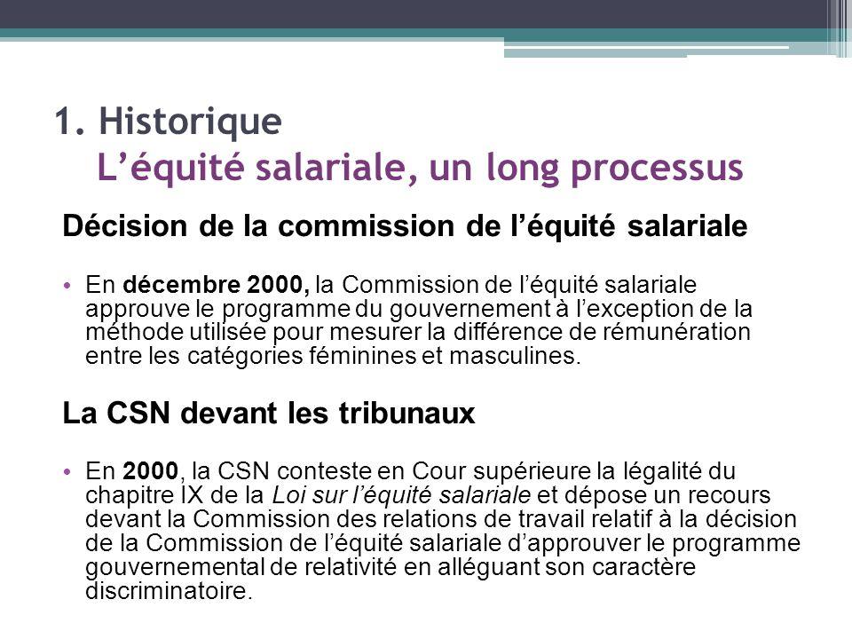 Décision de la commission de l'équité salariale En décembre 2000, la Commission de l'équité salariale approuve le programme du gouvernement à l'exception de la méthode utilisée pour mesurer la différence de rémunération entre les catégories féminines et masculines.