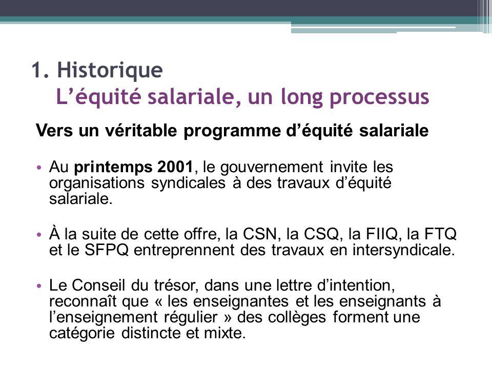Vers un véritable programme d'équité salariale Au printemps 2001, le gouvernement invite les organisations syndicales à des travaux d'équité salariale.