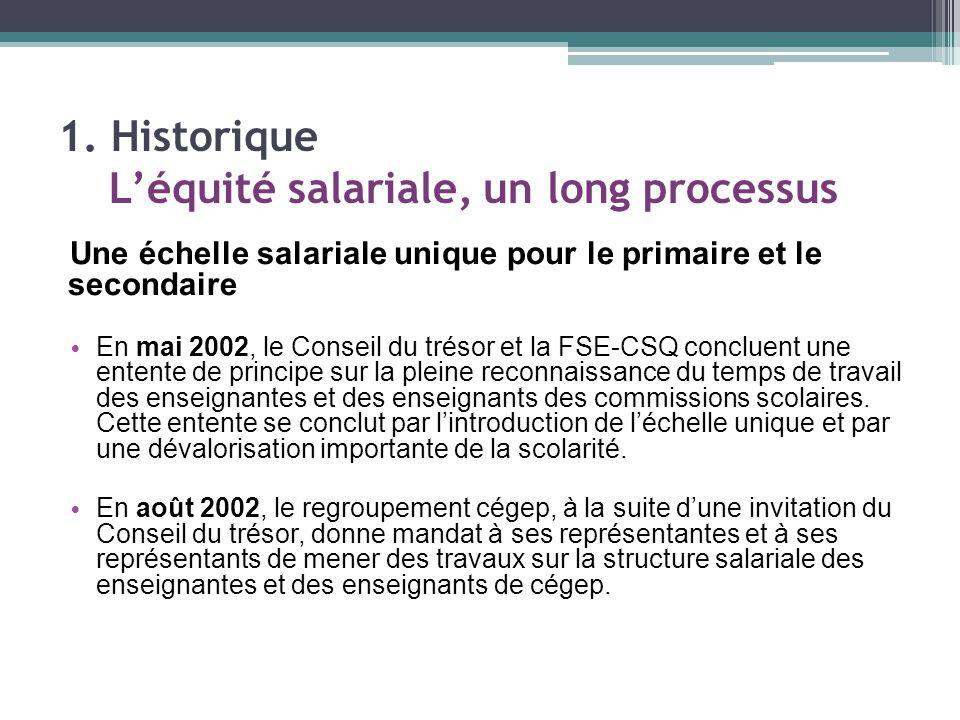 Une échelle salariale unique pour le primaire et le secondaire En mai 2002, le Conseil du trésor et la FSE-CSQ concluent une entente de principe sur la pleine reconnaissance du temps de travail des enseignantes et des enseignants des commissions scolaires.