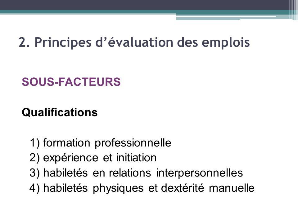 SOUS-FACTEURS Qualifications 1) formation professionnelle 2) expérience et initiation 3) habiletés en relations interpersonnelles 4) habiletés physiques et dextérité manuelle 2.