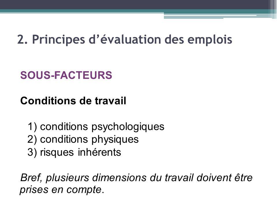 SOUS-FACTEURS Conditions de travail 1) conditions psychologiques 2) conditions physiques 3) risques inhérents Bref, plusieurs dimensions du travail doivent être prises en compte.