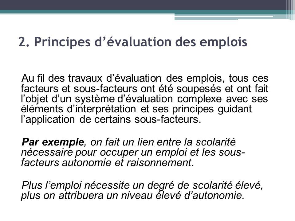Au fil des travaux d'évaluation des emplois, tous ces facteurs et sous-facteurs ont été soupesés et ont fait l'objet d'un système d'évaluation complexe avec ses éléments d'interprétation et ses principes guidant l'application de certains sous-facteurs.