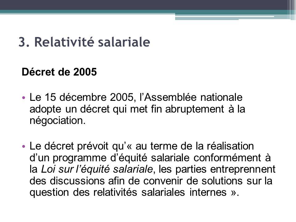 Décret de 2005 Le 15 décembre 2005, l'Assemblée nationale adopte un décret qui met fin abruptement à la négociation.