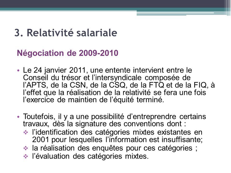 Négociation de 2009-2010 Le 24 janvier 2011, une entente intervient entre le Conseil du trésor et l'intersyndicale composée de l'APTS, de la CSN, de la CSQ, de la FTQ et de la FIQ, à l'effet que la réalisation de la relativité se fera une fois l'exercice de maintien de l'équité terminé.