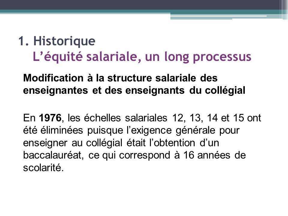 Modification à la structure salariale des enseignantes et des enseignants du collégial En 1976, les échelles salariales 12, 13, 14 et 15 ont été éliminées puisque l'exigence générale pour enseigner au collégial était l'obtention d'un baccalauréat, ce qui correspond à 16 années de scolarité.
