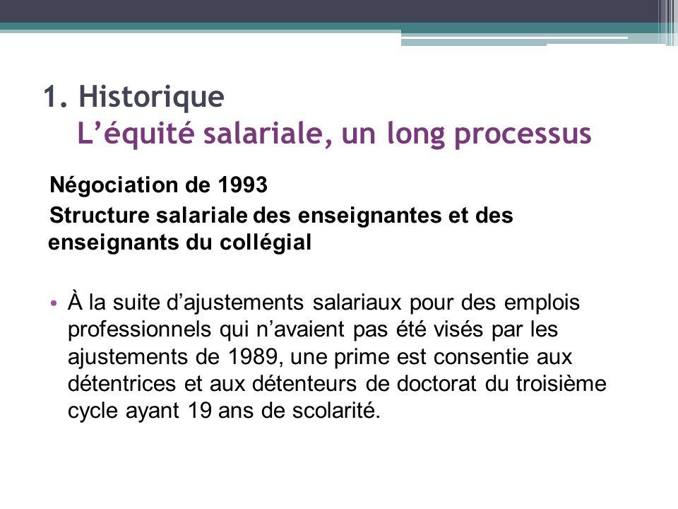 Négociation de 1993 Structure salariale des enseignantes et des enseignants du collégial À la suite d'ajustements salariaux pour des emplois professionnels qui n'avaient pas été visés par les ajustements de 1989, une prime est consentie aux détentrices et aux détenteurs de doctorat du troisième cycle ayant 19 ans de scolarité.