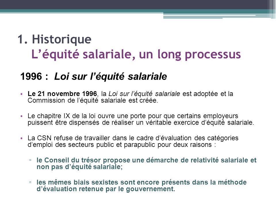Un jugement favorable de la Cour supérieure En janvier 2004, la juge Carole Julien, de la Cour supérieure, donne raison à la CSN et juge inconstitutionnel le chapitre IX de la Loi sur l'équité salariale.