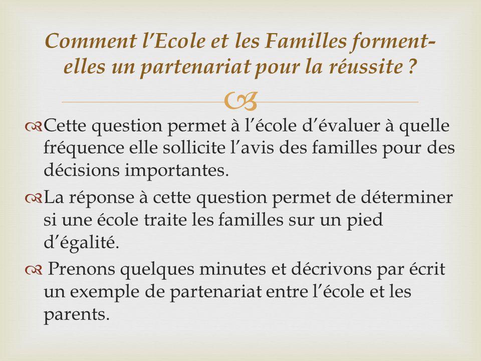   Cette question permet à l'école d'évaluer à quelle fréquence elle sollicite l'avis des familles pour des décisions importantes.  La réponse à cet