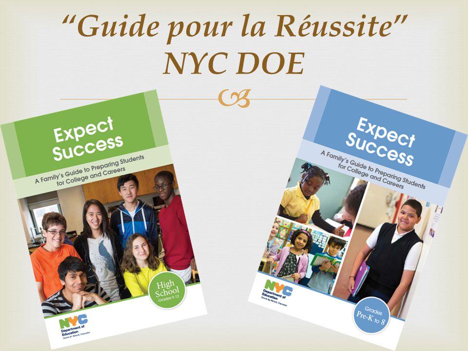 """  http:// """"Guide pour la Réussite"""" NYC DOE"""