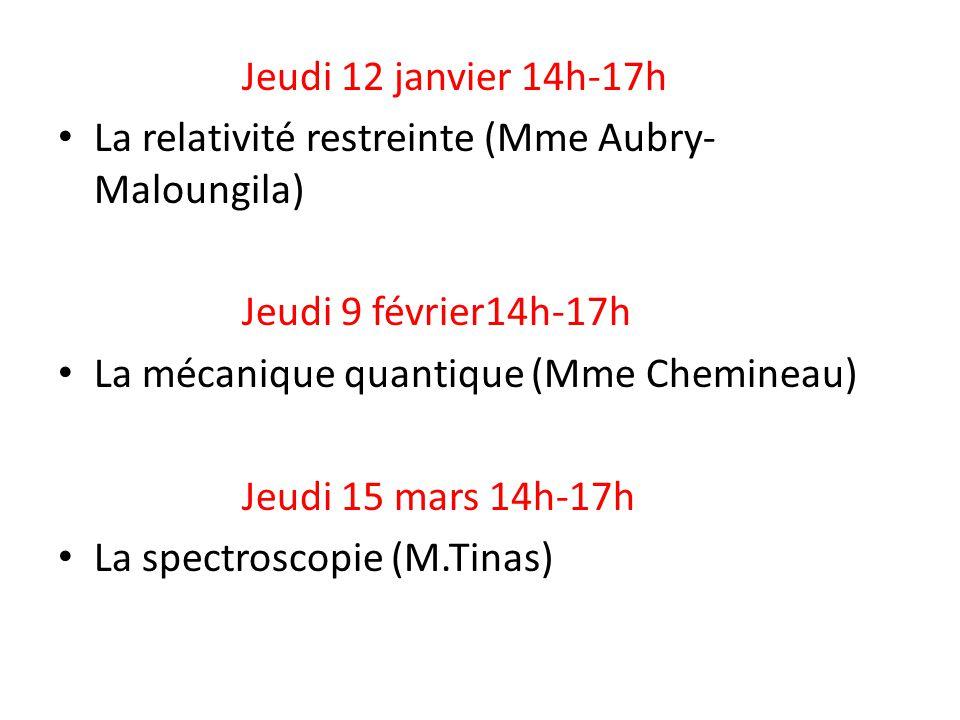 Jeudi 12 janvier 14h-17h La relativité restreinte (Mme Aubry- Maloungila) Jeudi 9 février14h-17h La mécanique quantique (Mme Chemineau) Jeudi 15 mars