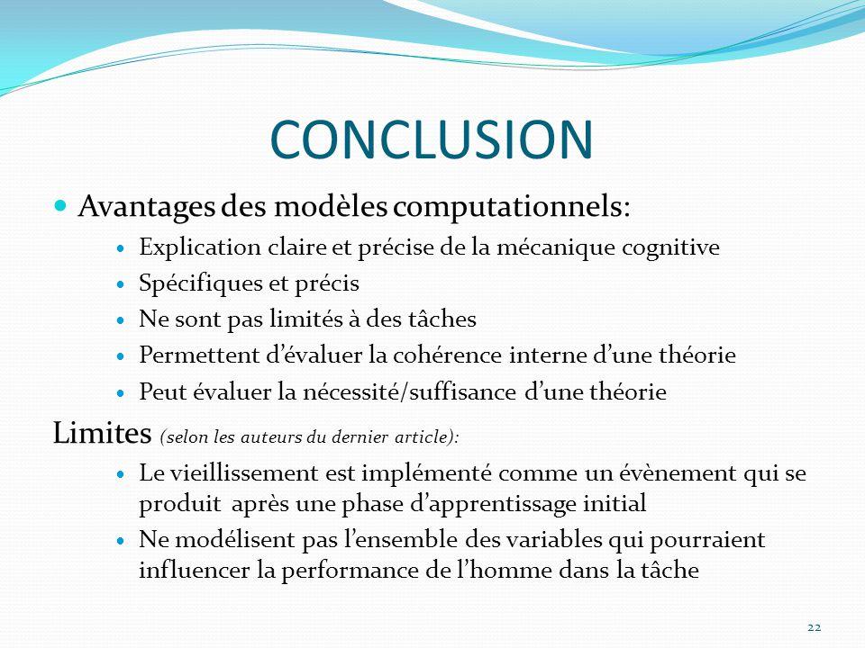 CONCLUSION Avantages des modèles computationnels: Explication claire et précise de la mécanique cognitive Spécifiques et précis Ne sont pas limités à