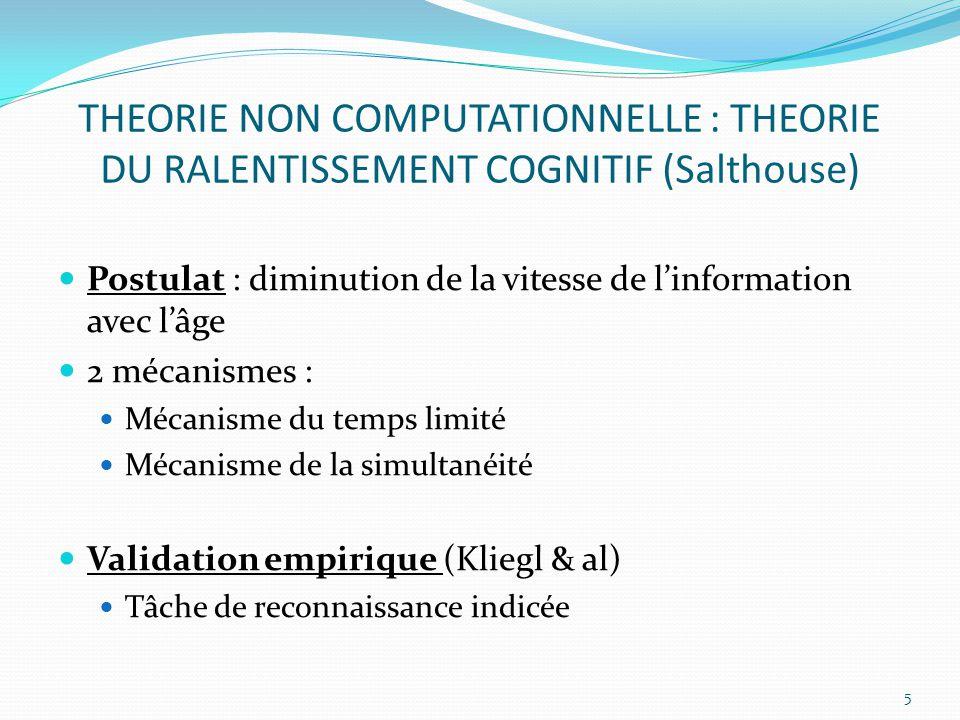 THEORIE NON COMPUTATIONNELLE : THEORIE DU RALENTISSEMENT COGNITIF (Salthouse) Postulat : diminution de la vitesse de l'information avec l'âge 2 mécani