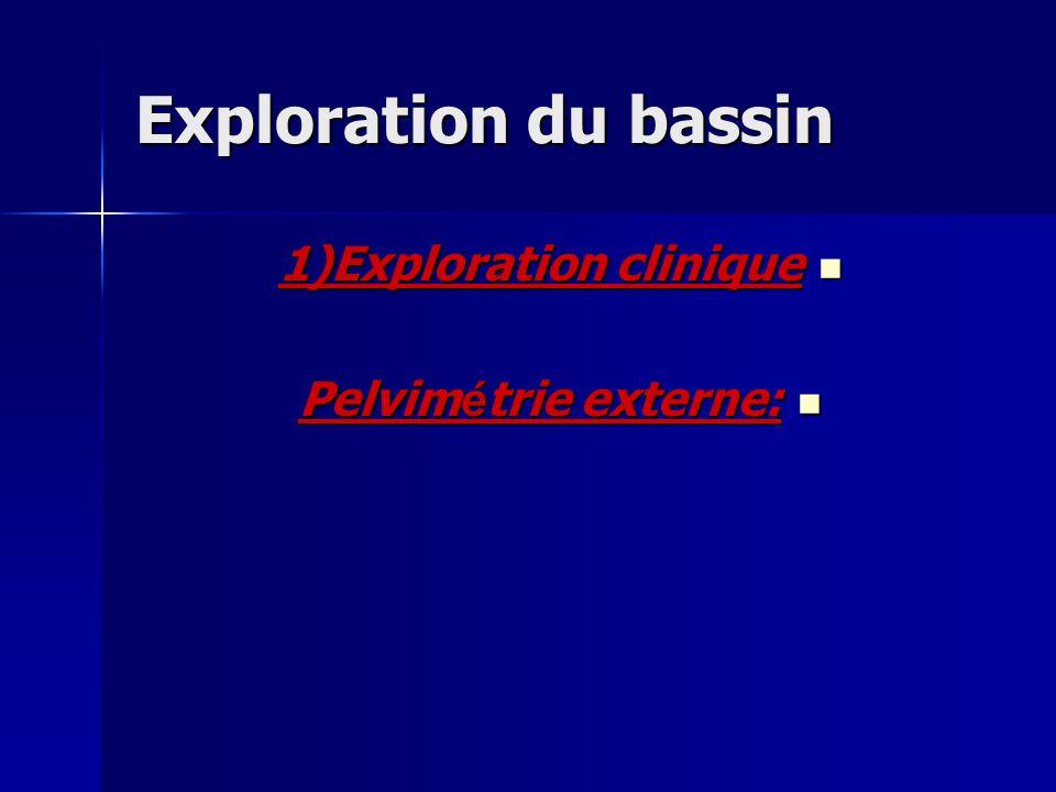 Exploration du bassin 1)Exploration clinique 1)Exploration clinique Pelvim é trie externe: Pelvim é trie externe: