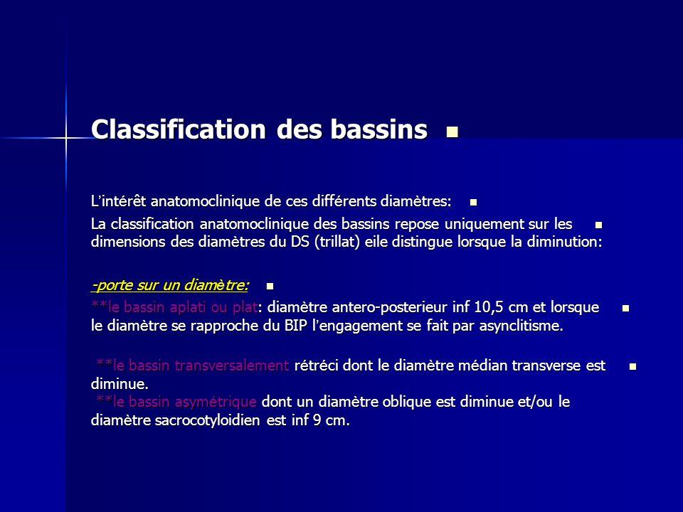 Classification des bassins Classification des bassins L ' int é rêt anatomoclinique de ces diff é rents diam è tres: L ' int é rêt anatomoclinique de